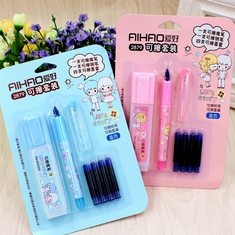 AIHAO Cute Plastic Erasable Fountain Pen With 4 pcs Ink 2 colors available For Kids Gift Korean Stationery IB01