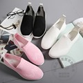 Nylon Soft Leather Womens Shoes Hollow Carved Skimmers Shoes Exercise Slip On Women Gravida White Solid Women Flats Simple