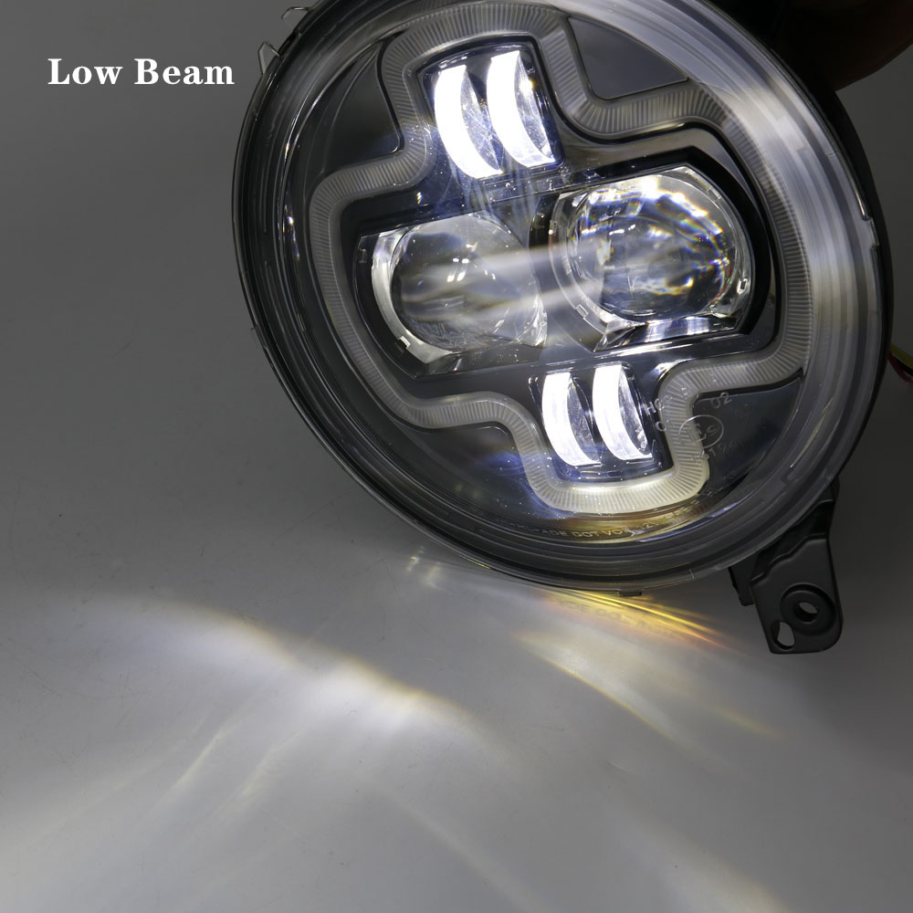 Car Lights 9inch Round LED Headlight White DRL Halo Ring Plug in Play for 2018 2019 Jeep Wrangler JL Car Headlight Assembly (23)