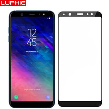LUPHIE 5D Full Glue Cover Tempered Glass For Samsung A8 A6 Plus 2018 Glass Screen Protector For Samsung A6 J6 2018 Glass Film(China)