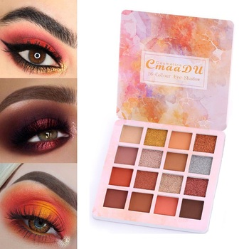 Long-lasting Waterproof Eye Shadow Natural Eyes Makeup 16 Colors Eyeshadow Palette Cosmetics Diamond Glitter Shiny Matte TSLM1 1