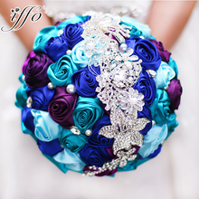 Bride holding flowers, New arrival Romantic Wedding Colorful Rose Bride 's Bouquet,Royal blue teal purple bridal brooch bouquets