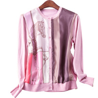 2018 New Spring Shirt Printed Pure Silk Joining Together Blouses Knit Long Sleeve Cardigan Female Elegant