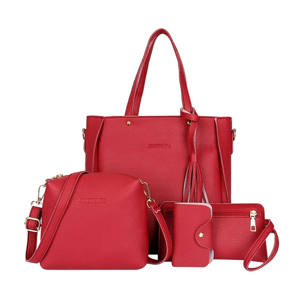 4PCS Women's Bag Set Fashion Litchi PU Print Handbag Tassel Messenger Bag Shoulder Bag Wallet Bags For Women 2019 Daily