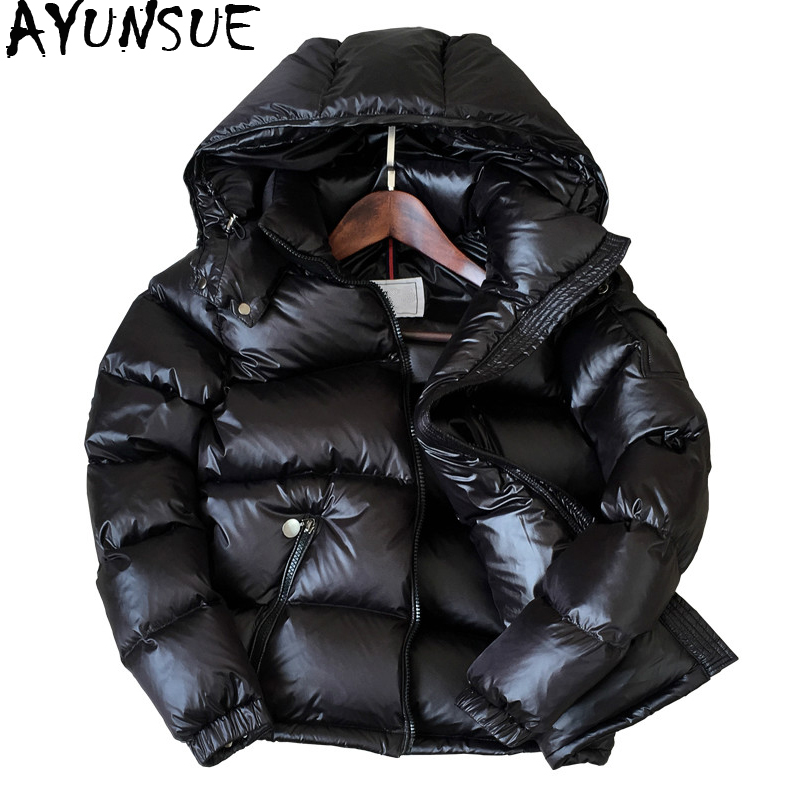 AYUNSUE 90% White Duck Down Jacket Winter Coat Women Thick Short Bright Hooded Korean Overcoat Women's Jackets Warm Parka KJ726