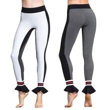Women Sexy Yoga Pants Elastic Fitness Gym Running Pant White Workout Sport Leggings Female Trouser Yoga Legging Contrast Color