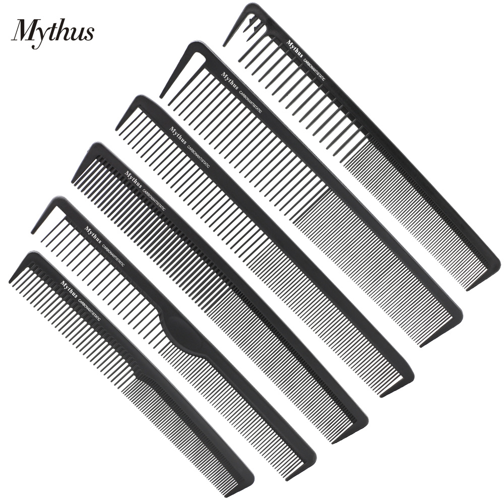 Mythus Professional Carbon Antistatic Comb i 6 st. Set Barber Haircut Comb Salon Straightening och Curling Tail Hair Combs M-06