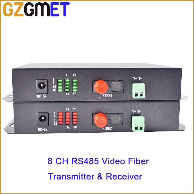 GZGMET 1pair 8 Channel Video Data Fiber Optic Media Converter WITH Transmitter & Receiver  RS485 FC Single Mode PORTS