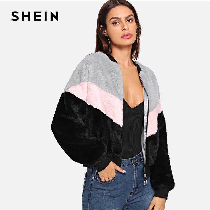 SHEIN Пушистаяя Куртка Женская Осень Повседневная Многоцветная Куртка С Длинными Рукавами