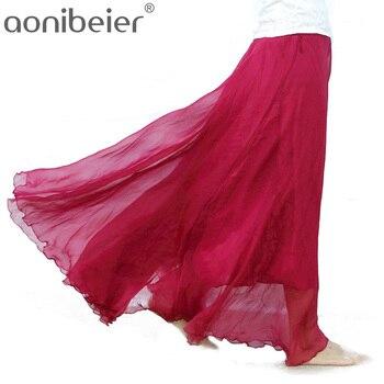 Aonibeier Oversized Hem elástico cintura faldas alta cintura plisada falda  Candy Color mujeres playa falda tamaño S-XL falda ocasional 31bbc55db26c