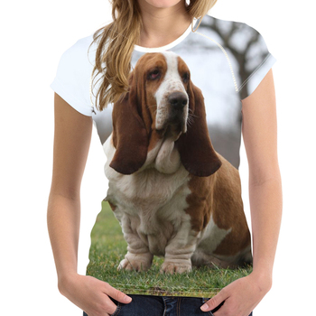 NOISYDESIGNS Harajuku Women Summer T Shirt Funny Puppy Basset Hound Printing Lady O Neck T-shirt Brand Short Sleeve Tees Clothes