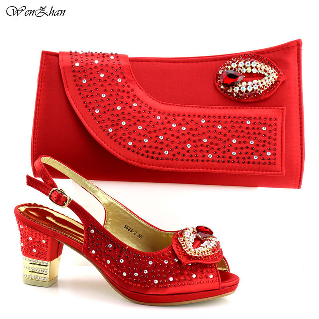 African shoes and bag sets Italian shoe with matching bag With Appliques crystal good selling ladies matching sets C87-24