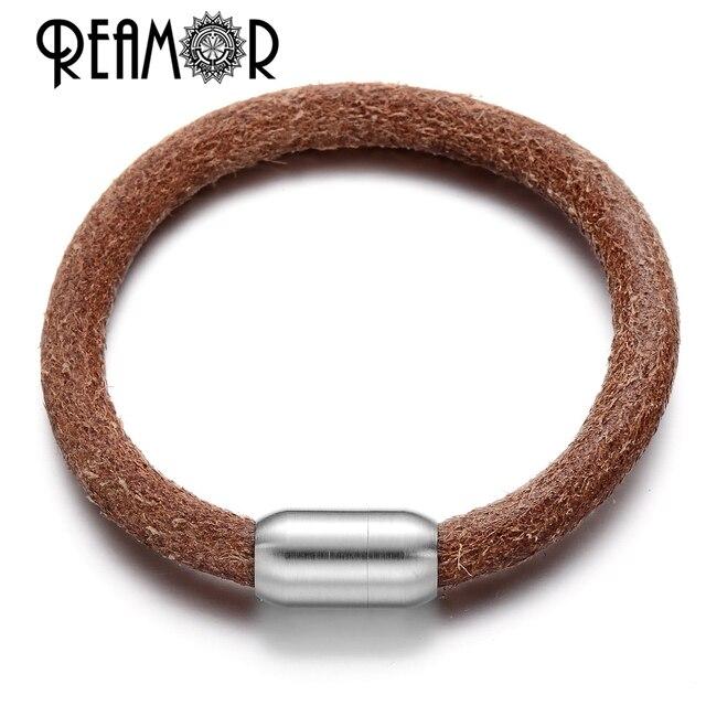 REAMOR 5 Types 8mm Bracelets en cuir véritable grand trou perles femmes hommes Bracelet fabrication de bijoux à bricoler soi-même avec fermoir aimant