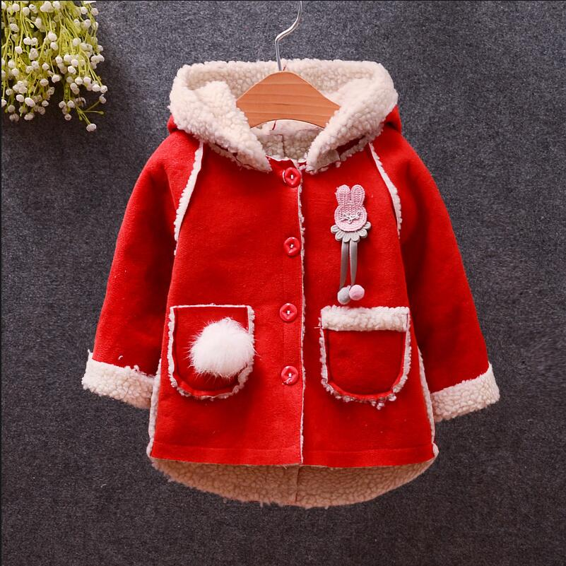BibiCola infant baby girls warm thicken PU outerwear coats kids winter jacket coat bebe tddler girl hooded fleece outfits coat button tab cuffs hooded belted coat