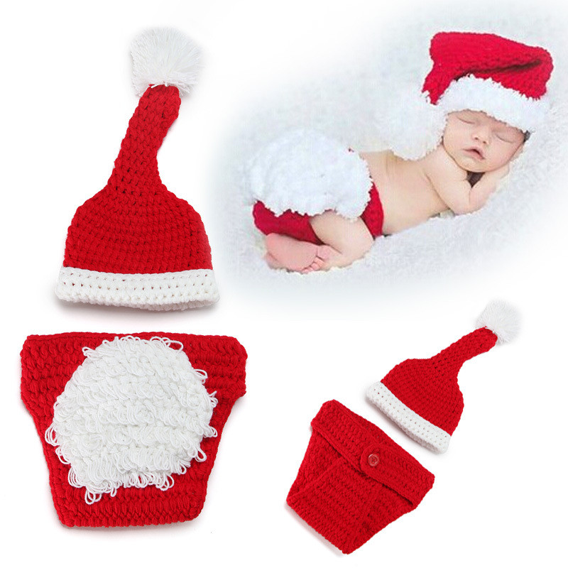 Newborn Baby Knitting Clothing Infant Unisex Cute Christmas Set Photography Props Boy Girl Costume Hat&Pant Crochet