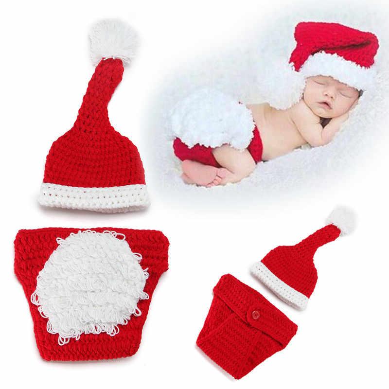 5916b7e81b4 Newborn Baby Knitting Clothing Infant Unisex Cute Christmas Set Photography  Props Boy Girl Costume Hat Pant Crochet