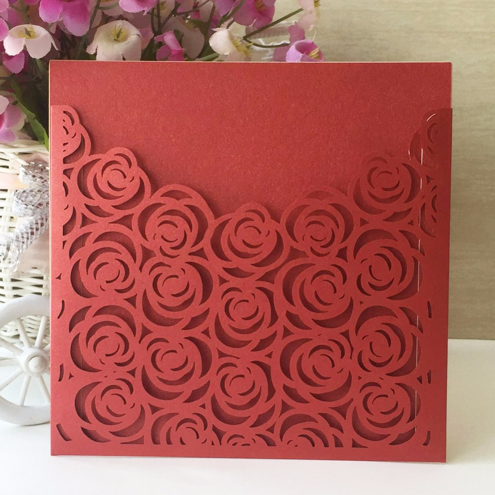 High Quality 50pcs/lot Square Hollow Rose Wedding Invitation Cards ...