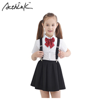 2016 New Arrival Girls Summer Wedding Skirt Shirts Set With Bowtie Brand Formal Young Girls School