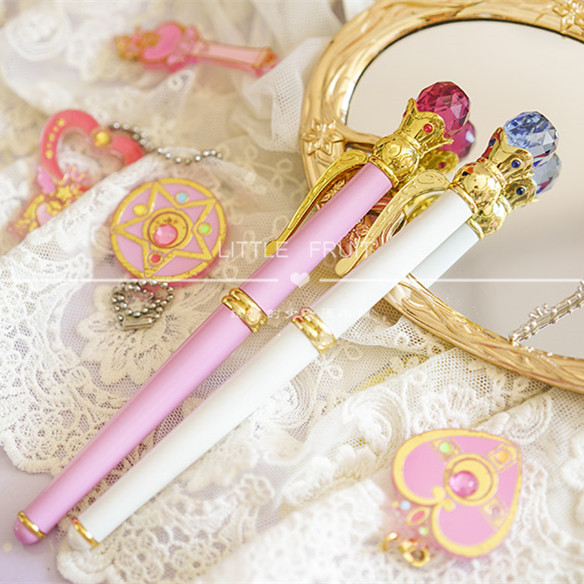 Sailor Moon 20th Anniversary Fountain Pen Handmade Limit  White Pink Ballpoint Pen Cosplay Anime Gift