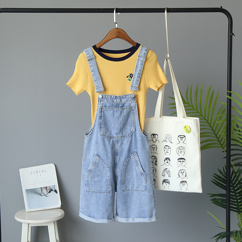 Women Short   Jeans   Overalls Summer Vintage Casual Streetwear With Pockets Solid High Waist Korean Style Harajuku Denim Shorts