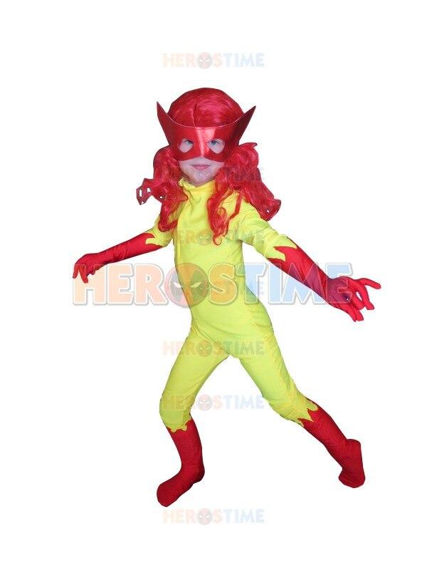 Kids Firestar Costume Spandex Girls Child halloween cosplay Superhero Costumes Hot Sale Zentai Suit Free Shipping
