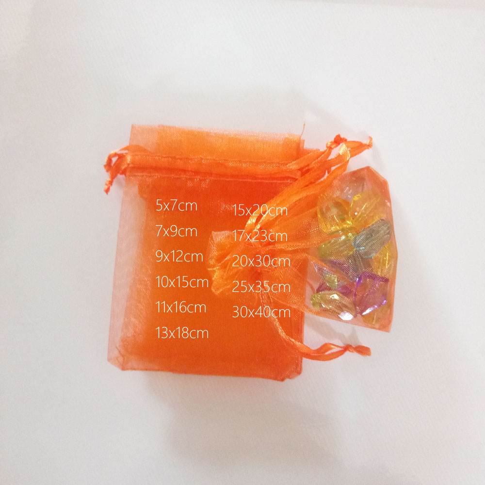1000pcs Orange Gift Bags For Jewelry Bags And Packaging Organza Bag Drawstring Bag Wedding/Woman Travel Storage Display Pouches