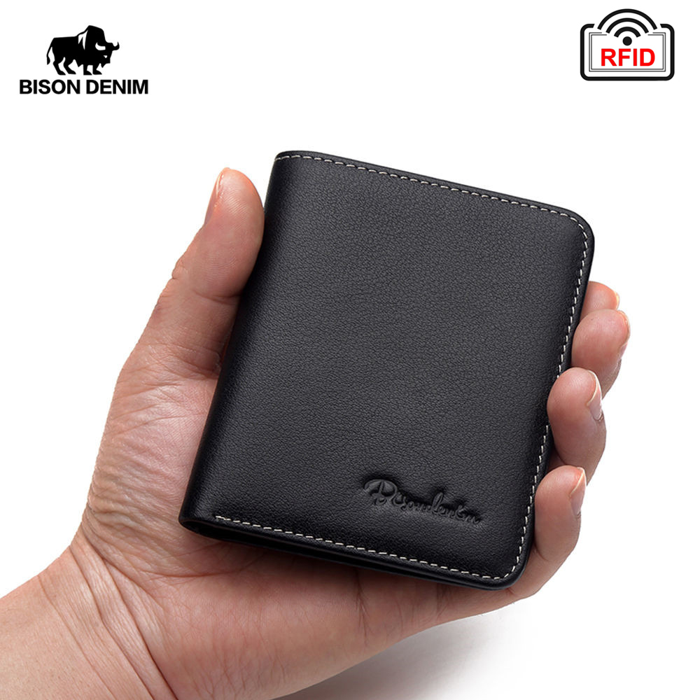BISON DENIM Black Purse For Men Genuine Leather Men's Wallets Thin Male Wallet Card Holder Cowskin Soft Mini Purses N4429(China)