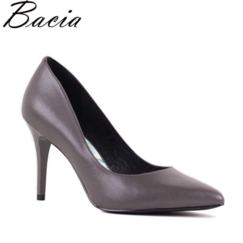 Bacia nuevo delgado y bombas tacón alto de piel de oveja de señoras de la Oficina señaló bombas de dedo del pie zapatos de cuero genuino de las mujeres Plus tamaño 35 -41 SB035