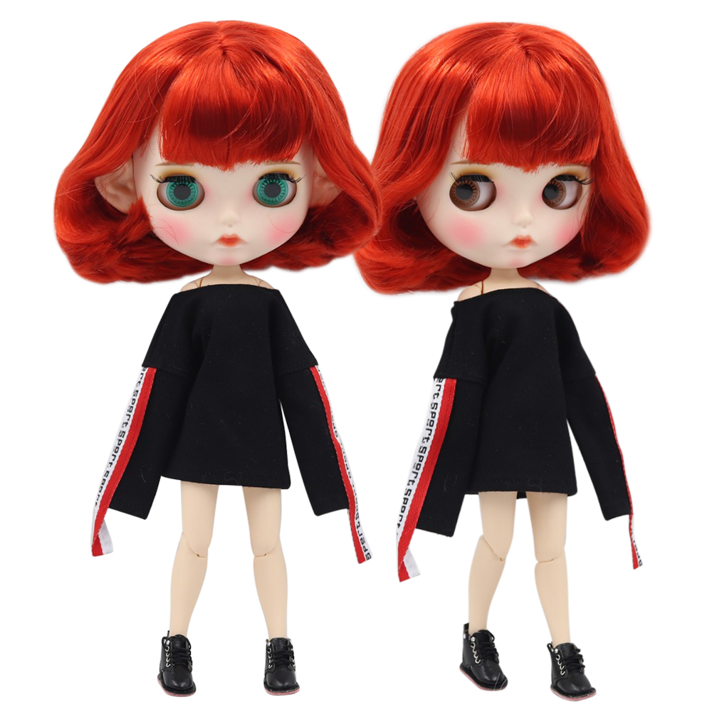 Dutiful Factory Blyth Doll 1/6 Bjd White Skin Joint Body Short Red Hair New Matte Face Carved Lips With Eyebrow Customized Face Bl1248 Fashionable Patterns Dolls