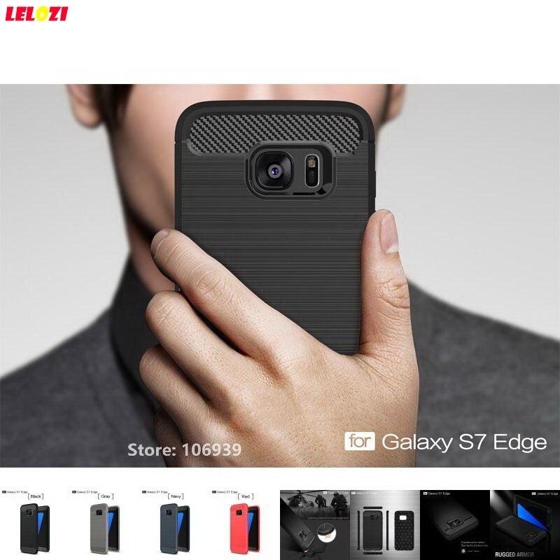 LELOZI Soft TPU Armor Rugged Carbon Fiber Brushed Men Coque Etui Case shell Capinha For Samsung Galaxy S7 Edge SM G935F SM-G935