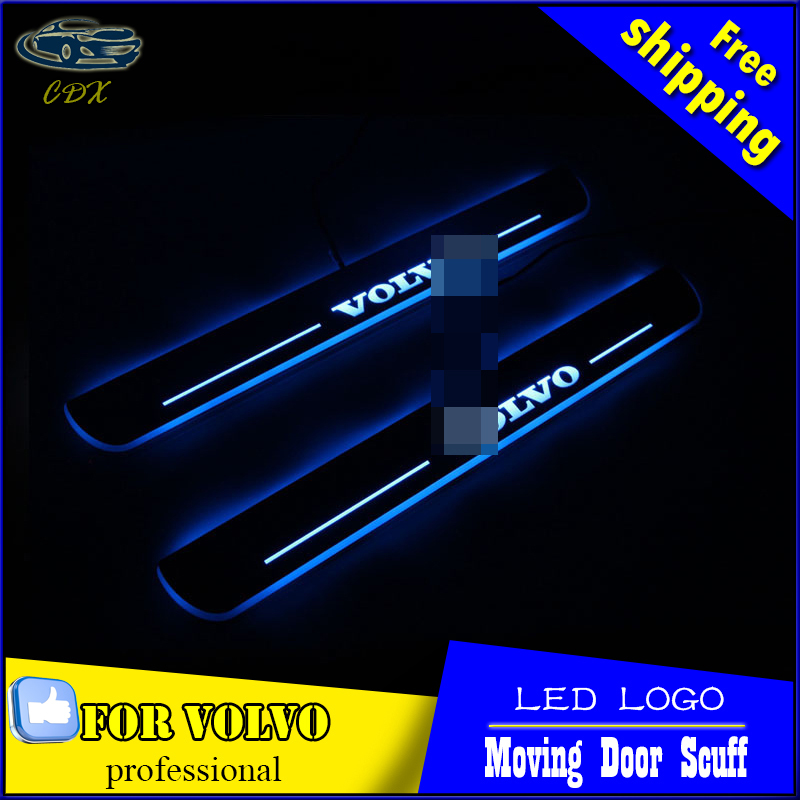 Car Styling Welcome pedal Door Sills Moving Scuff Plate Light Panel LED Light Dynamic Rubbing Strip For Volvo S60 XC60 2015 2016