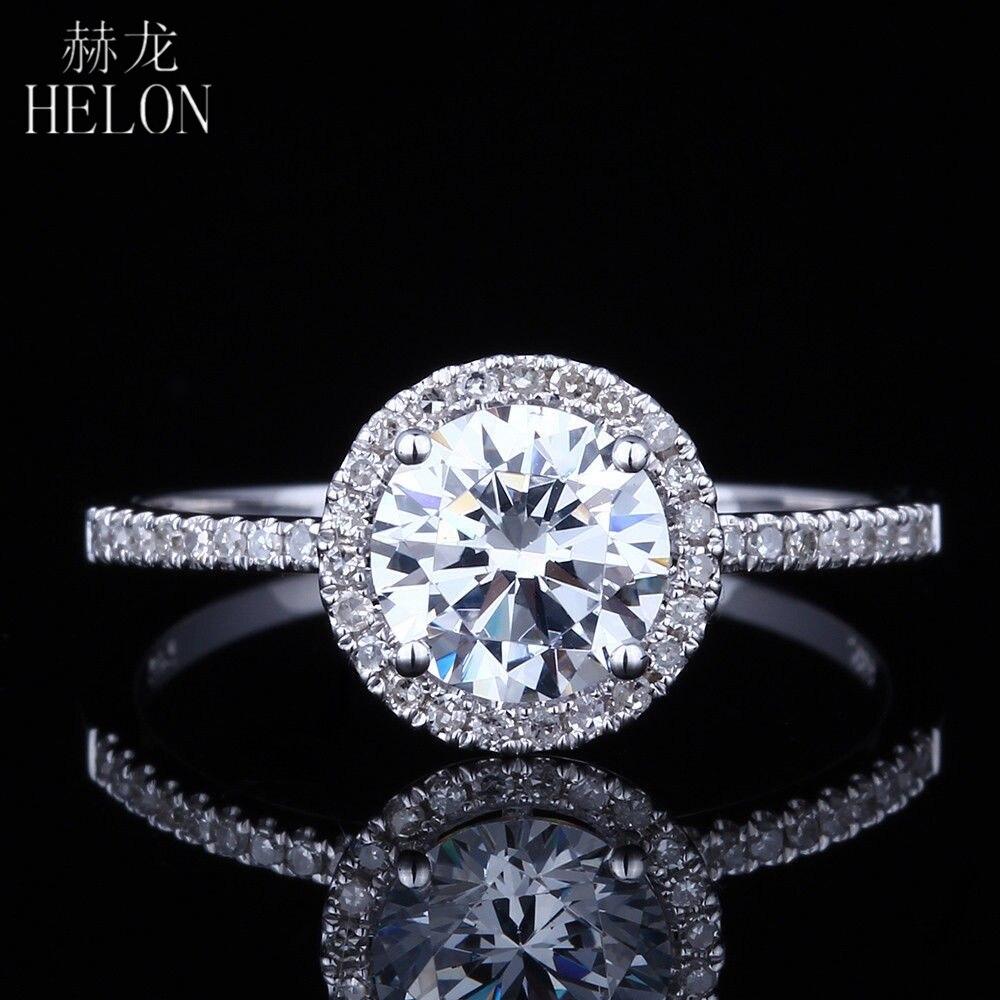 HELON 1ct VVS/DEF couleur Moissanite anneau solide 14K or blanc laboratoire cultivé diamant Moissanite bijoux femmes fiançailles bague de mariage