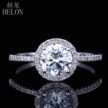 HELON  6.5mm Round 1 Ct Color G-H Moissanite Ring Solid 14K White Gold Moissanite Engagement Wedding Ring Fine Jewelry Women