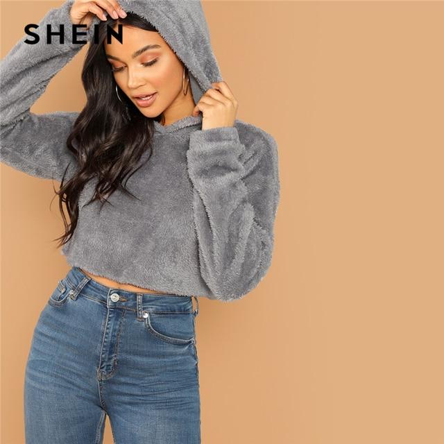 SHEIN Grey Minimalist Solid Drop Shoulder Crop Teddy Hoodie Sweatshirt Autumn Casual Fashion Women Pullovers Sweatshirts