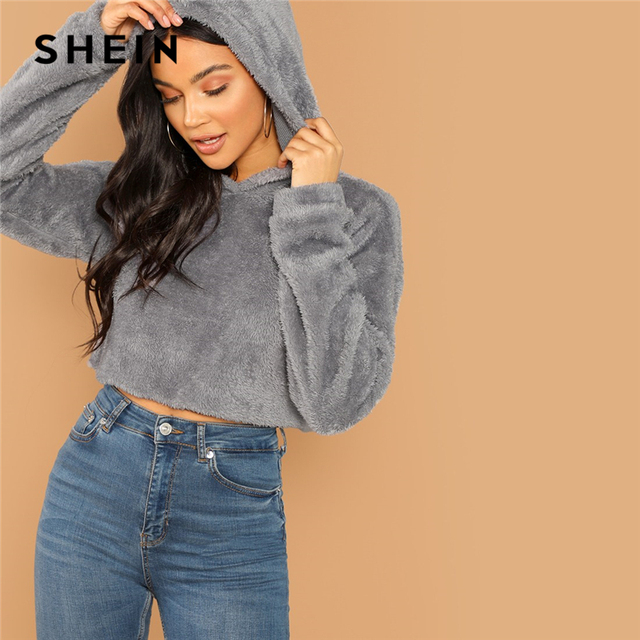 2832e851b8 SHEIN Grey Minimalist Solid Drop Shoulder Crop Teddy Hoodie Sweatshirt  Autumn Casual Fashion Women Pullovers Sweatshirts