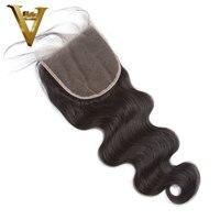 объемная волна кружева закрытия шнурка бразильский человеческих волос кружева фронтальная застежка бесплатная часть отбеленные узлы с ребенком волос