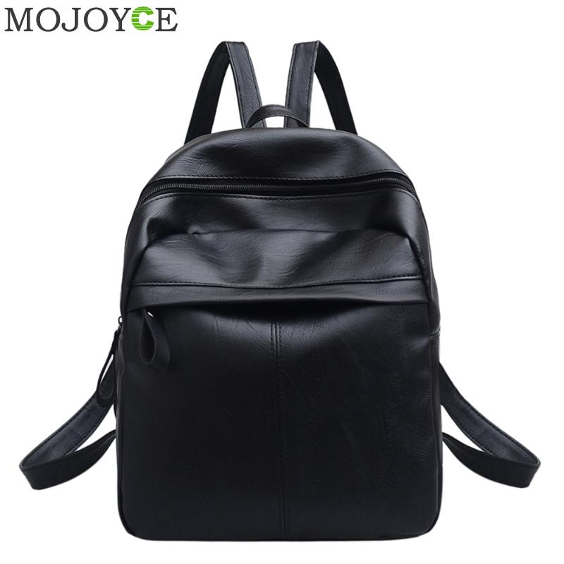 Women PU Leather Backpack Fashion Student School Shoulder Bag Black Travel Backpacks For Teenage Girls Women Daypack Mochilas annmouler women fashion backpack pu leather shoulder bag 7 colors casual daypack high quality solid color school bag for girls