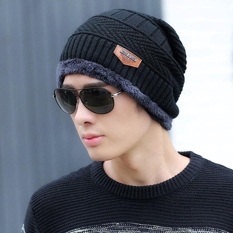 Fashion Knitted Winter Hats For Men Thick And Warm Men Hat Autumn Women Beanie Hat Winter Cap Wool Ski Hats Beanies Bonnet 2019