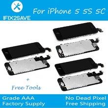 + ЖК-дисплей Экран для iphone 5C 5S 5 ЖК-дисплей Дисплей сенсорный полный Экран планшета + кнопки home + Фронтальная камера гибкий кабель для iPhone 5C 5S 5