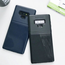 Armor Carbon Fiber Matte TPU Case For Samsung Galaxy Note 9 8 S9 S8 S7 Edge A5 A7 A8 A6 Plus J4 J6 J8 2018 Cover Silicone Case(China)