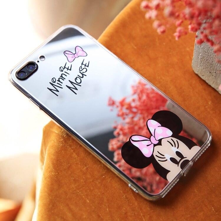 HTB166vQfbsTMeJjy1zbq6AhlVXaj - Minnie Mickey Mouse Mirror Case for iPhone 6 s 6S X 10 7 8 Plus 6Plus 6sPlus 7Plus 8Plus SE 5S Cover silicone PTC 333