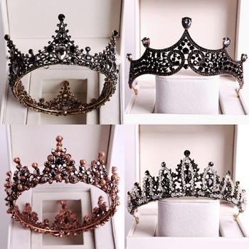 Barokowy czarny kryształ duże okrągłe tiary ślubne korony korowód Prom Diadem Rhinestone welon opaska Tiara ślubne akcesoria do włosów tanie i dobre opinie George Black CN (pochodzenie) Ze stopu cynku Moda Tiaras Kobiety TRENDY Hairwear HG001 PLANT Baroque Luxury Crystal AB Bridal Crown Tiaras