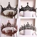 Тиары-короны в барочном стиле для невесты, диадемы в черном цвете с большим круглым кристаллом, аксессуары для волос в свадебном стиле