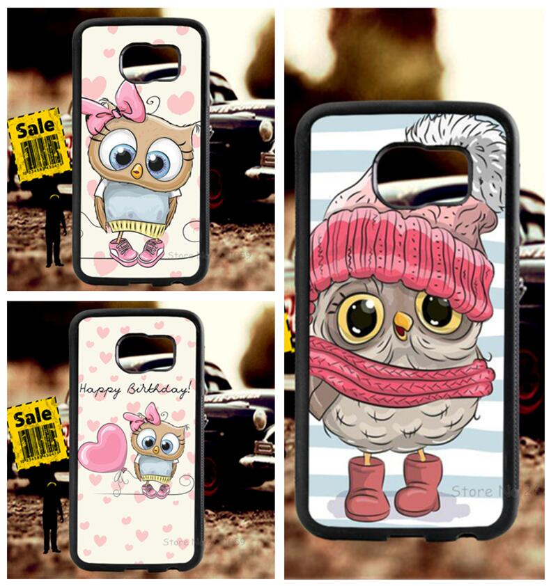 Pink owl soft TPU edge cell phone cases for samsung s6 edge plus s7 edge s8 s9 plus lite e note8 note9 cover case in Half wrapped Cases from Cellphones Telecommunications