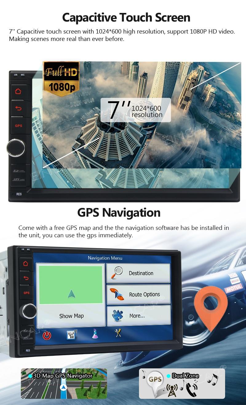 Caméra de sauvegarde gratuite + Android 7.1 unité de tête stéréo de voiture 2 Din dans le tableau de bord GPS Navigation soutien Bluetooth USB RDS Radio WiFi OBD2 Mirr