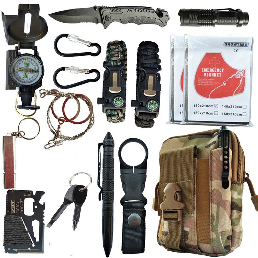 16 em 1 kit de sobrevivência ao ar livre conjunto acampamento viagem multifunções primeiros socorros sos edc suprimentos emergência tático para a ferramenta deserto