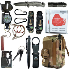 16 in 1 Outdoor survival kit Set Camping Travel Multifunction First aid SOS EDC Emergency Supplies Tactical for Wilderness tool wilderness first aid equipment case