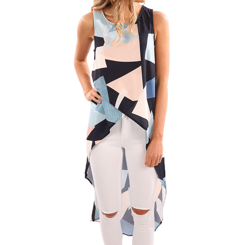 Summer Dress 2017 Party Dresses Printed O-neck Shirt Dress Geometrical Patchwork Irrgular Casual Dress Vestidos WS274R