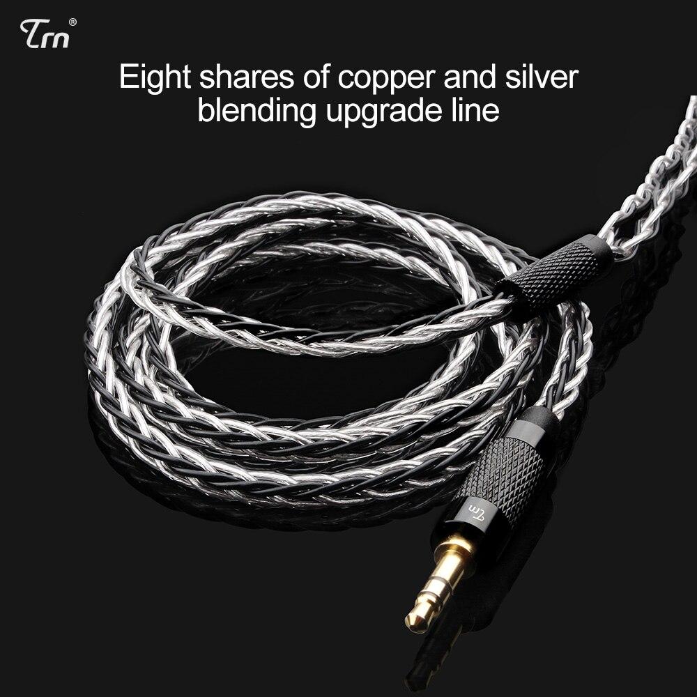 TRN 8 Core chapados en plata Cable de auriculares HIFI MMCX/2Pin conector uso para TRN V10/V20/V60 v80 KZ ZST AS10 ZS10 CCA C10