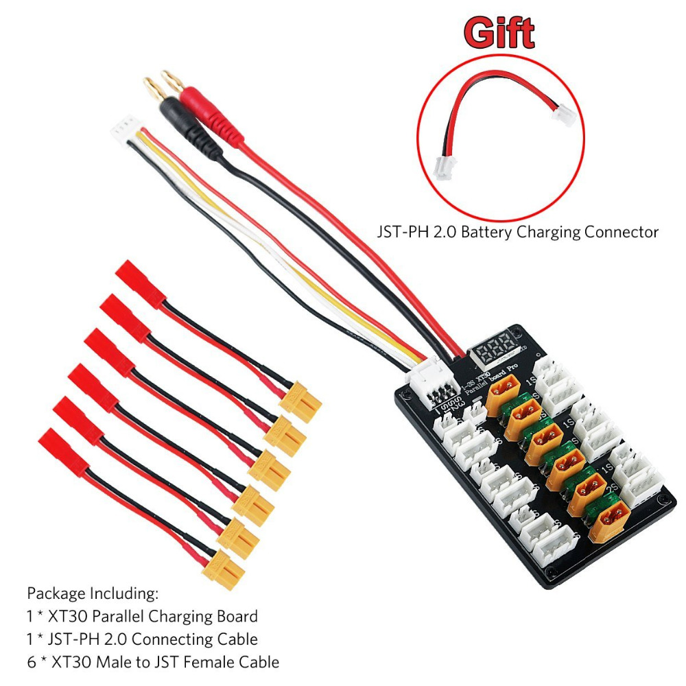 1 3S XT30 Plug Li Po Battery Parallel Charging Board 6pcs XT30 Male to JST Female Cables for IMAX B6 Charger RC Battery Parts|Parts & Accessories| |  - title=